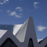The steel pleated roof features five differing peaks