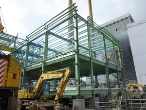The electrical building being erected