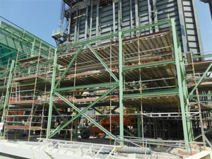 The steelwork for the turbine hall was completed around equipment installation