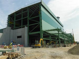 Cladding systems are installed to the turbine hall