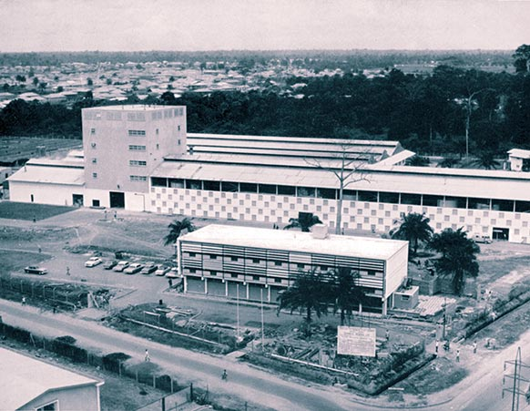 General view of the new Guinness Brewery at Ikeja, Nigeria, 14 miles from Lagos. Most buildings are of simple rolled steel and tubular framed construction except for a purpose-built brewing tower.