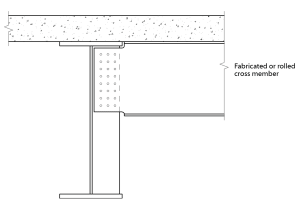 Fig. 2. Revised Figure 8.9 in P356, showing notches at both top and bottom flanges of cross member