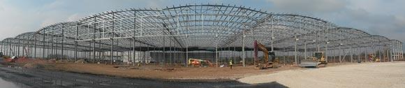 Ten portal frames form the logistics centre