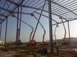 Caunton erects steelwork using its fleet of MEWPs