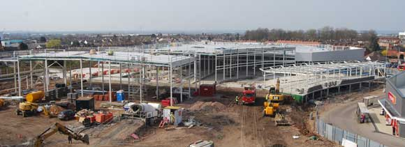 The Sainsbury's store and parts of Block B (right) take shape