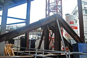 The transfer grillage will remain in situ until the steel frame is complete