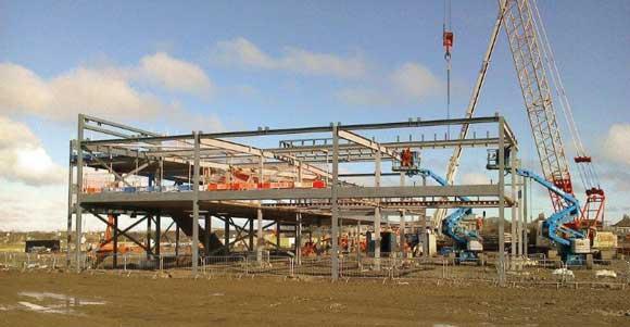 The steel frame erection programme gets under way