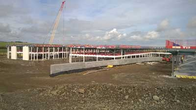 One of the teaching wings incorporates a retaining wall