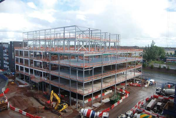 The CSSB takes shape quickly with the aid of steel construction