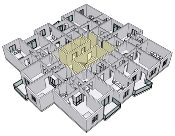Figure 2: Typical layout of modules in high-rise buildings (courtesy HTA Design)