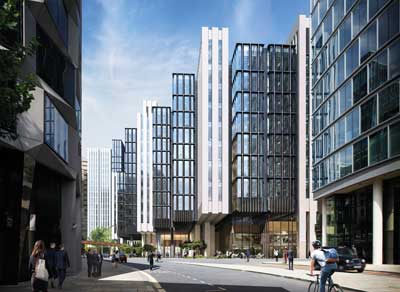 How the multiple cantilevers will look on 1 London Wall Place