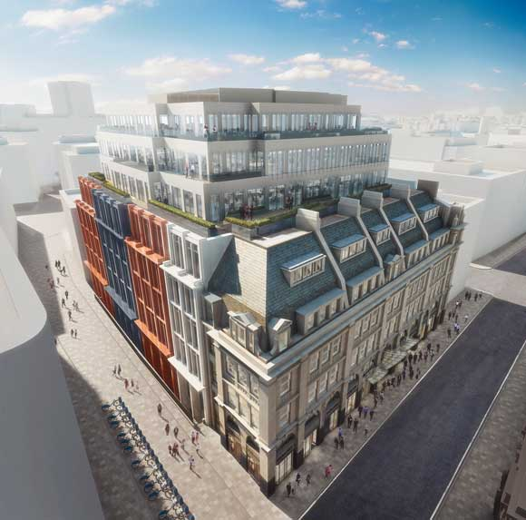 How the completed building will look along Chancery Lane (right) and Breams Buildings (left)