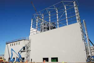 The turbine hall during the cladding process