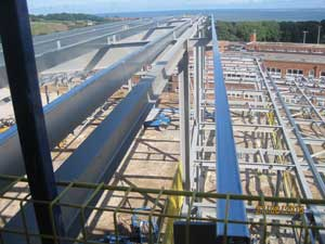 Overlooking the sports hall during the steel erection programme