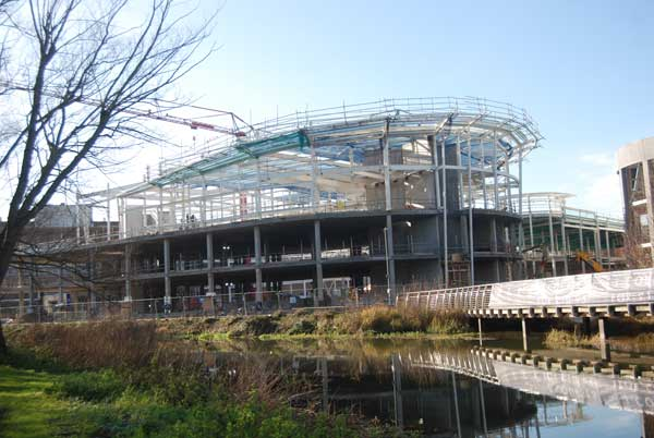 Steel nears completion on the project's cinema block