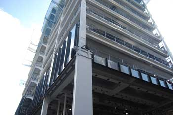 Large impact-resistant columns are positioned on the main elevation's corners