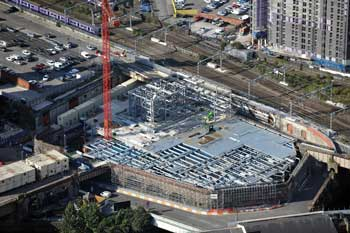 The car park under construction along with the core for Building 101