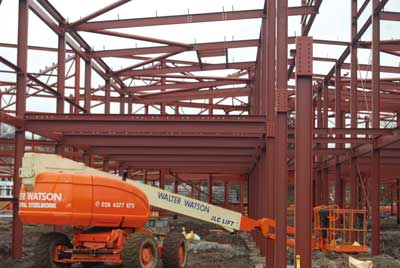 Steelwork contractor Walter Watson used its own fleet of cranes and MEWPs