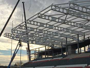 The company supplied the roof beams for Leicester Tigers' new stand