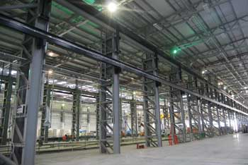 Crane beams are supported on twin lattice columns
