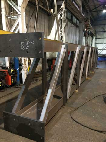 A lattice column being fabricated at Caunton's facility