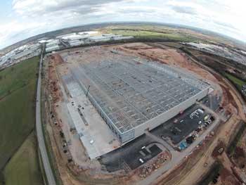 The Bardon site takes shape with the Amazon warehouse