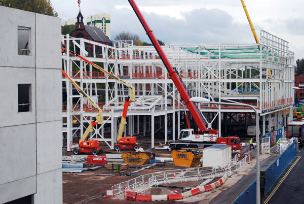 Steelwork erection began with the cinema