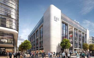 Visualisation of the completed BBC Wales building