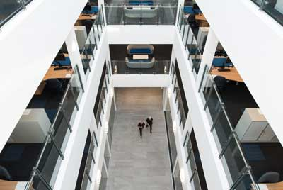 Offices are arranged around a large central atrium