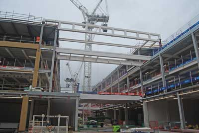 Steel bridges span the new mall