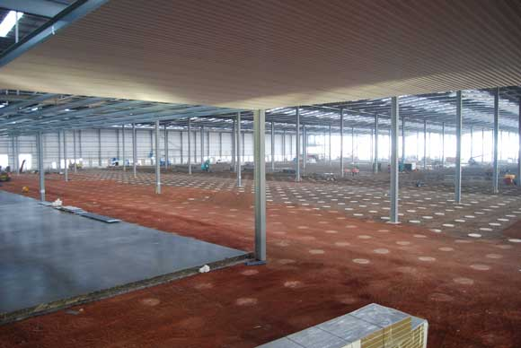 False ceilings at either end of the building provide access to the sprinkler system