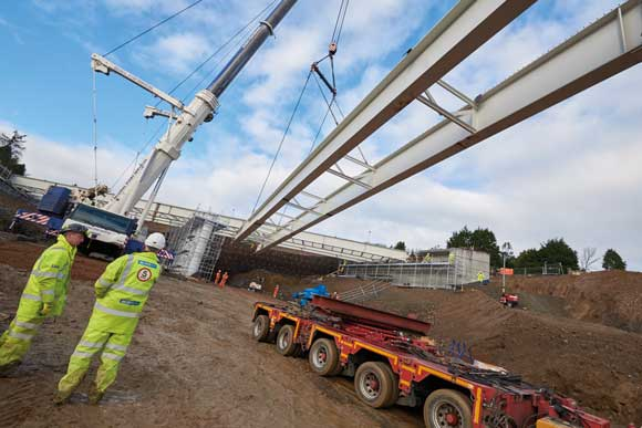 Girders are lifted in for the A93 North Deeside Overbridge