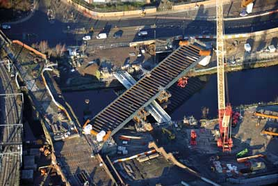The deck of the Irwell Crossing was completed first