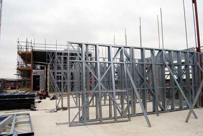 Light gauge steel is erected to form the apartments