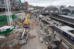 The steel structure will support the roof over the new taxi pick-up area