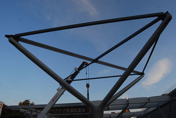 One of the 22 steel tree columns which will support the roof of the taxi deck