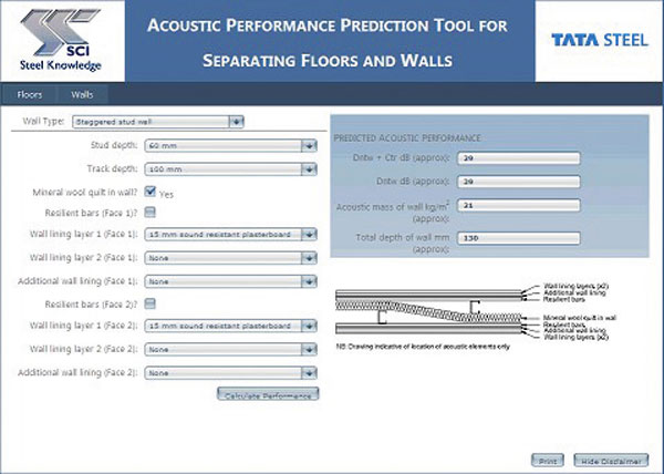 On-line tool for acoustic performance in construction