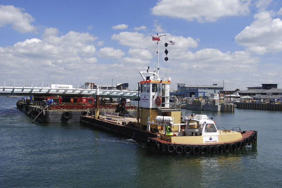 Harbour bridge floated into place