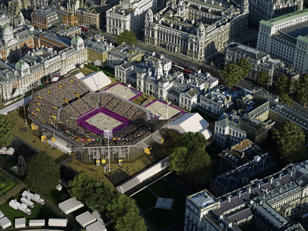 Temporary volleyball stadium for Westminster