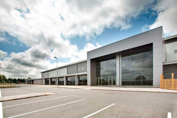 Steel posts green building for Royal Mail