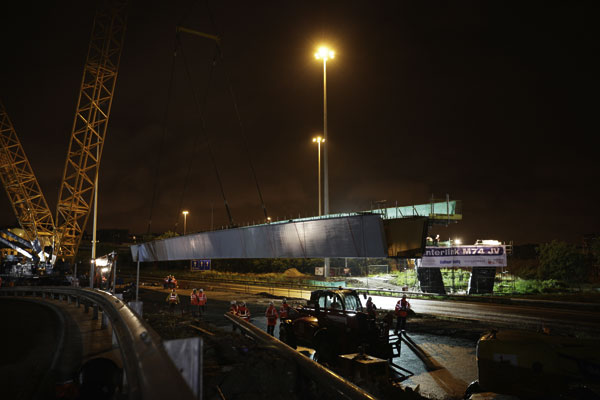 First bridge on new M74 lifted into place