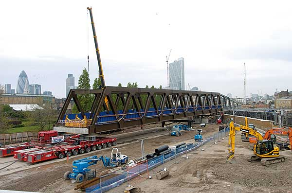 Bridge launched over London mainline railway