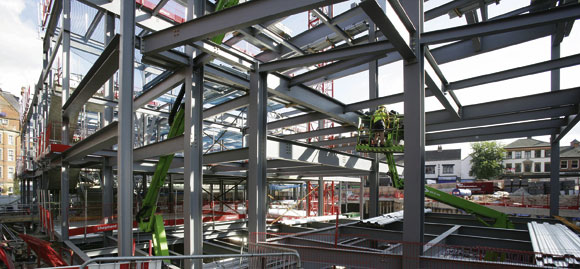 Complex steel  frame helps revitalise Nottingham city centre