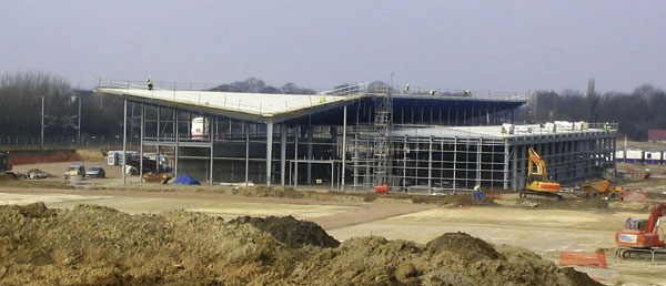 Steelwork complete for cross channel service station