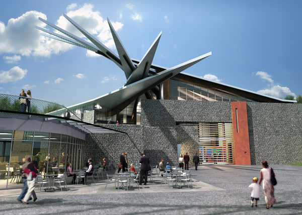 Coal-cutting machinery inspired heritage centre roof