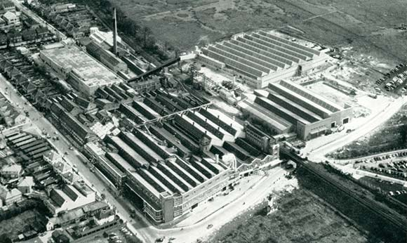 Aerial view showing reconstruction of the Watford works of Sun Printers Ltd.