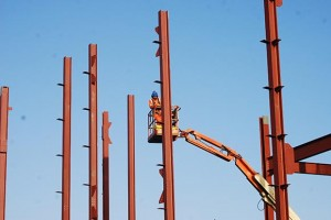 The building takes shape as columns get erected