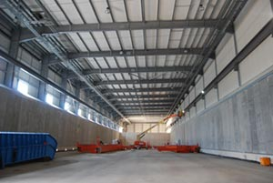 Inside one of the 112m long drying bed halls