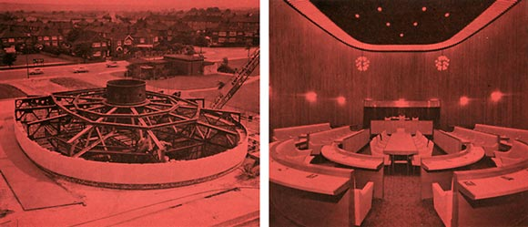 The illustrations below show steelwork under construction and the finished main Council Chamber. The 'hub' under the bicycle wheel construction is above the council chamber.