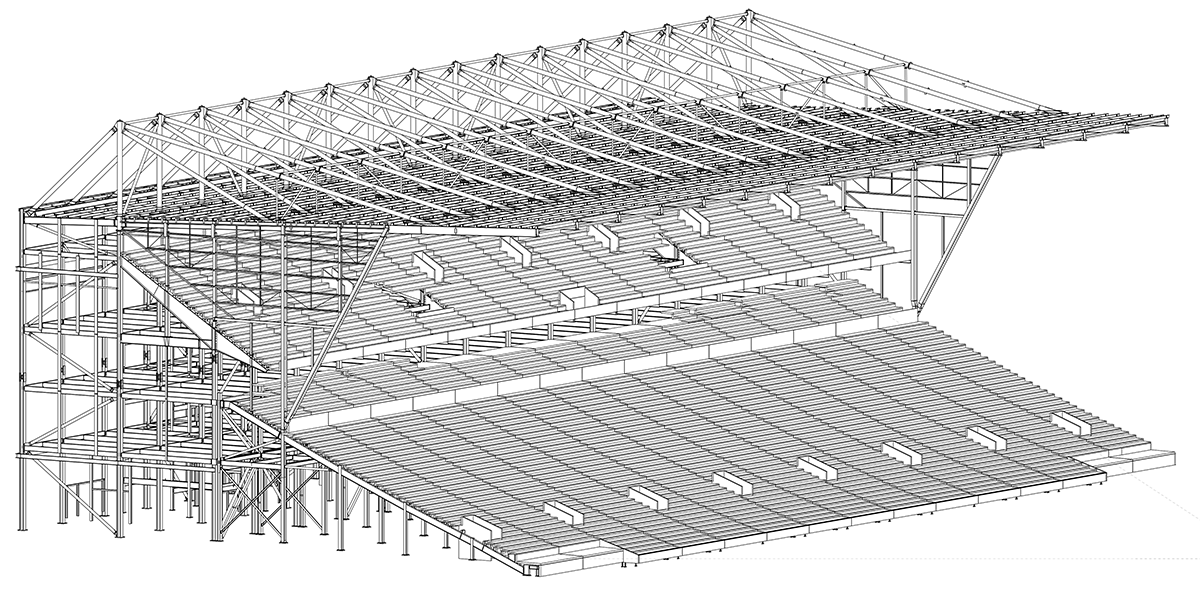 Steel model of the Ninian Stand and its new upper tier and roof